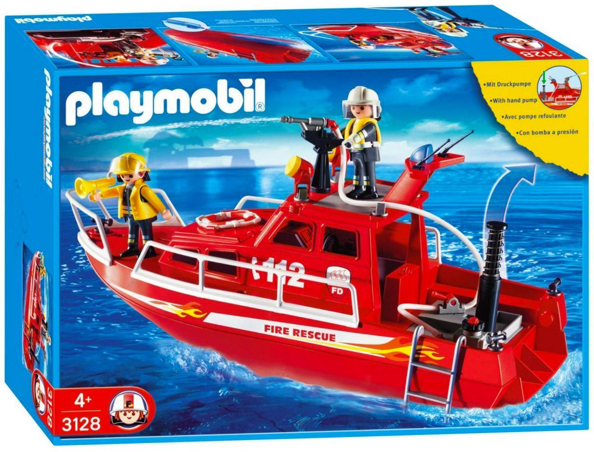 Playmobil city action 3128 pas cher bateau des - Caserne pompier playmobil pas cher ...