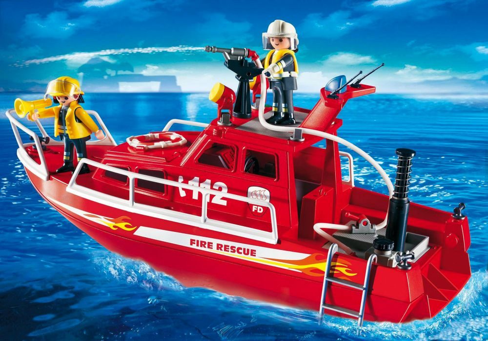 playmobil city action 3128 pas cher bateau des sauveteurs pompiers. Black Bedroom Furniture Sets. Home Design Ideas