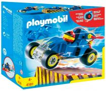 PLAYMOBIL Sports & Action 4181 Pilote avec voiture transformable bleue