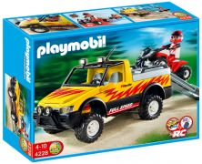 PLAYMOBIL Wild Life 4228 - Pick-up et quad de course rouge pas cher