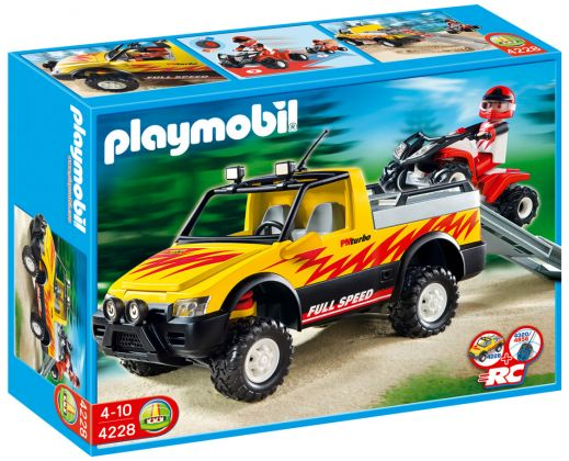 PLAYMOBIL Wild Life 4228 Pick-up et quad de course rouge