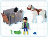 PLAYMOBIL Country 4316 Lad / cheval / cage de transport