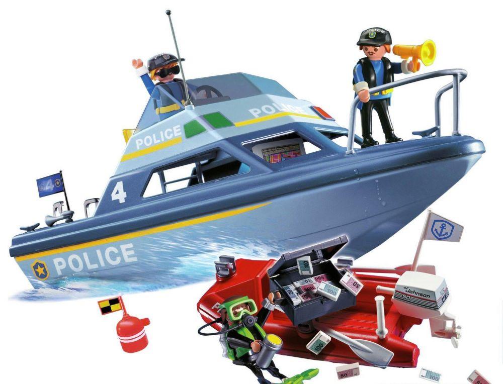 playmobil city action 4429 pas cher vedette de police et bateau de bandit. Black Bedroom Furniture Sets. Home Design Ideas