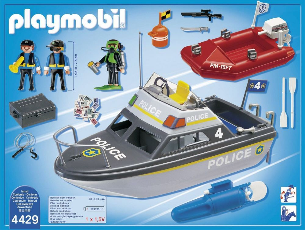 playmobil city action 4429 pas cher vedette de police et bateau de bandit. Black Bedroom Furniture Sets. Home Design Ideas