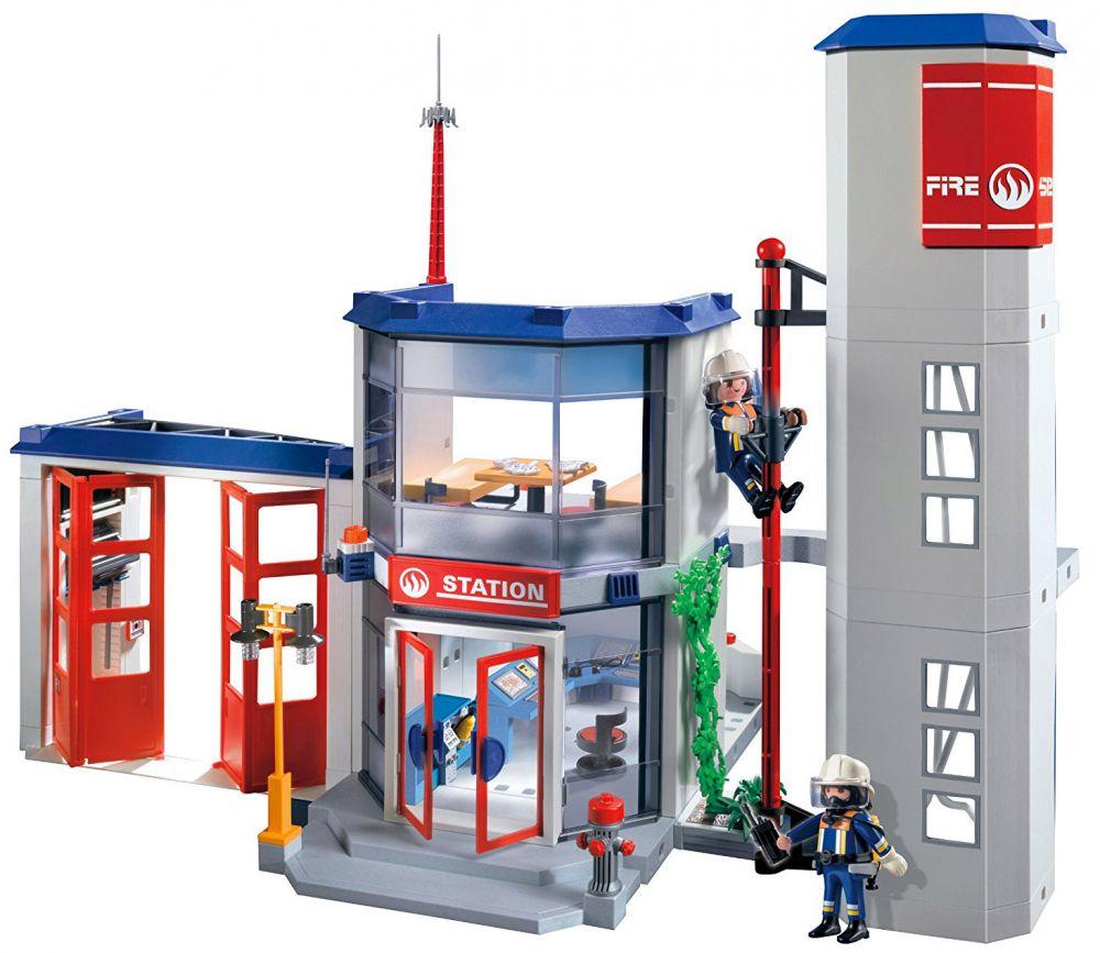 playmobil city action 4819 pas cher caserne de pompiers. Black Bedroom Furniture Sets. Home Design Ideas