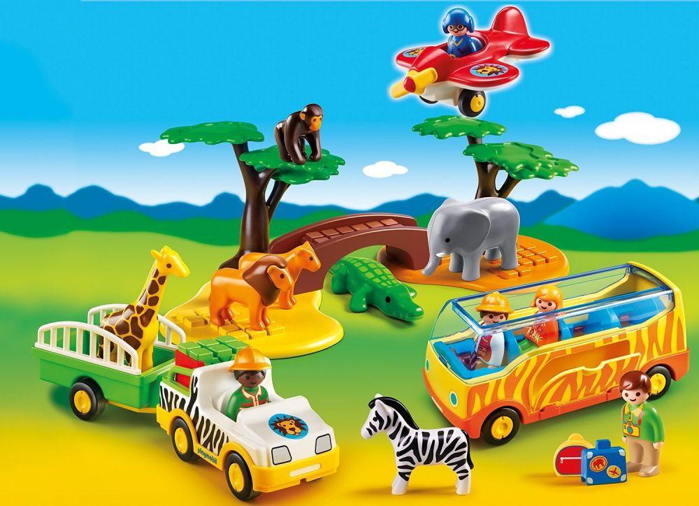 Playmobil 123 5047 pas cher coffret animaux de la savane avec gardien et touristes - Playmobile savane ...