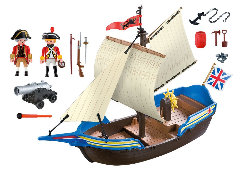 playmobil pirates 5140 pas cher navire des soldats britanniques. Black Bedroom Furniture Sets. Home Design Ideas