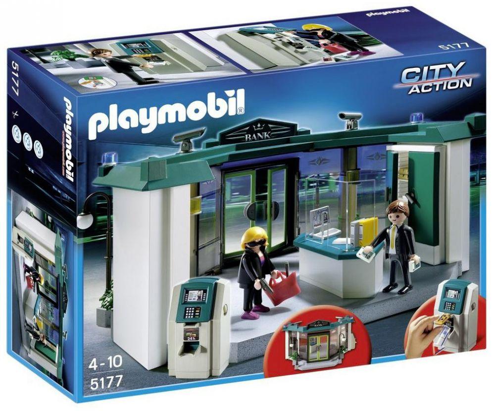 Playmobil city action 5177 pas cher banque avec - Caserne de police playmobil ...