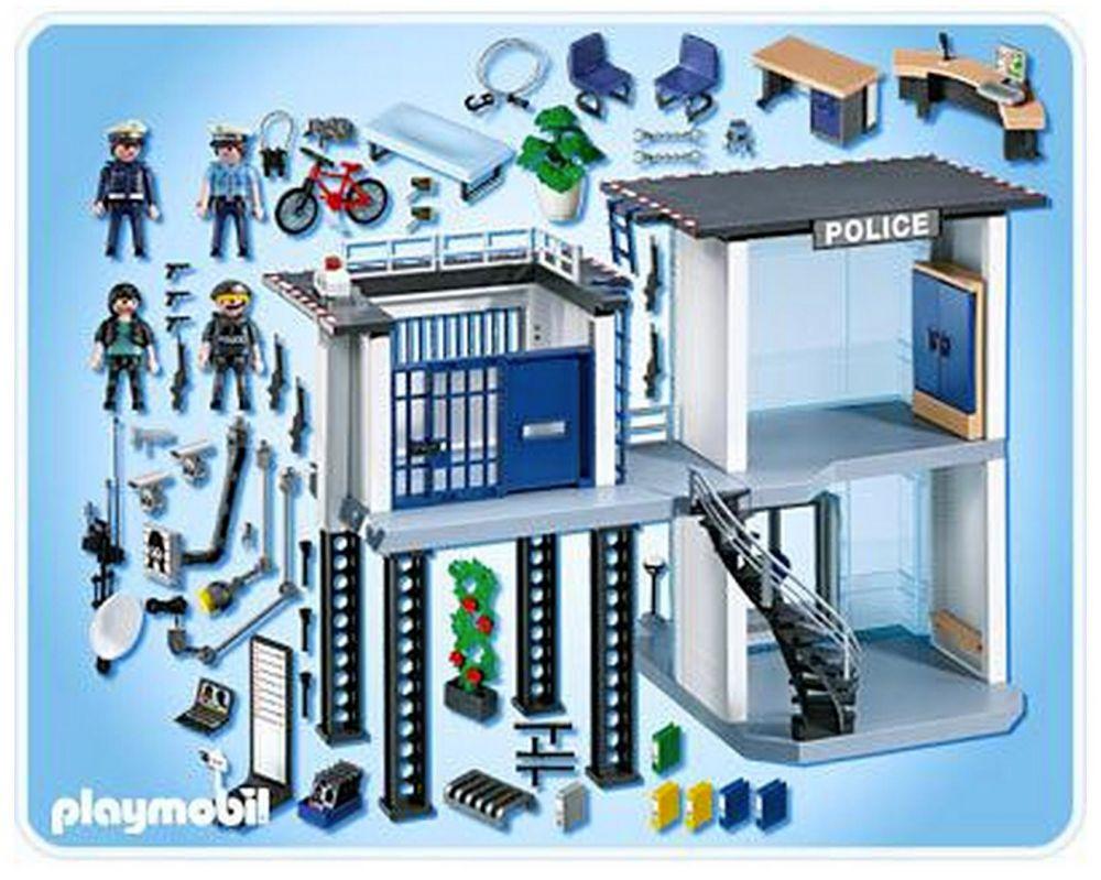 Playmobil city action 5182 pas cher commissariat de police avec syst me d alarme - Caserne de police playmobil ...