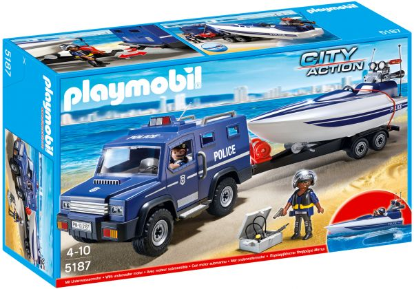 PLAYMOBIL City Action 5187 Fourgon et vedette de police