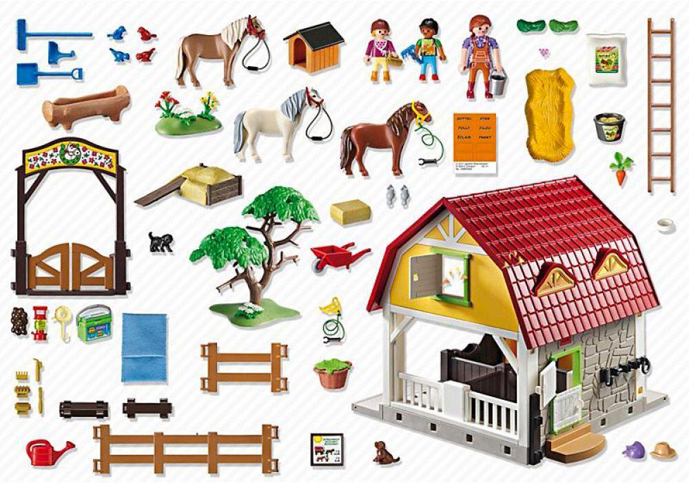 Playmobil country 5222 pas cher ranch avec poneys - Playmobil haras ...