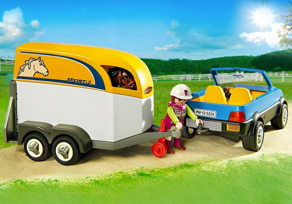 playmobil country 5223 pas cher voiture avec remorque et cheval. Black Bedroom Furniture Sets. Home Design Ideas