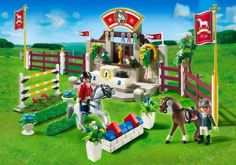 Playmobil country 5224 pas cher piste d 39 obstacles hippiques - Playmobil haras ...