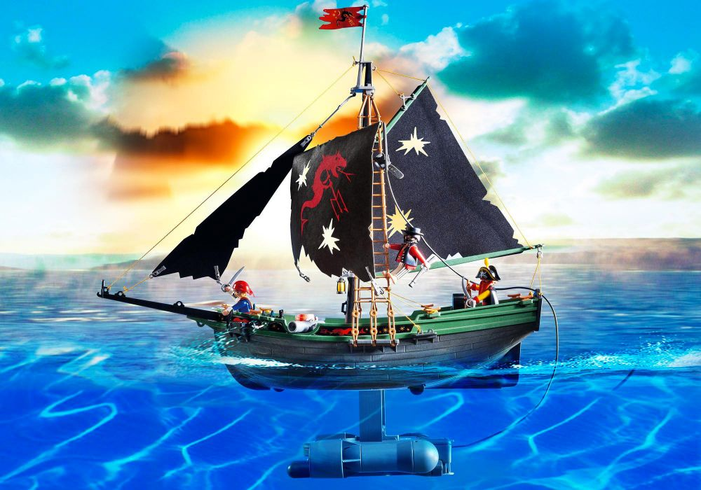 playmobil pirates 5238 pas cher bateau pirates avec moteur submersible. Black Bedroom Furniture Sets. Home Design Ideas