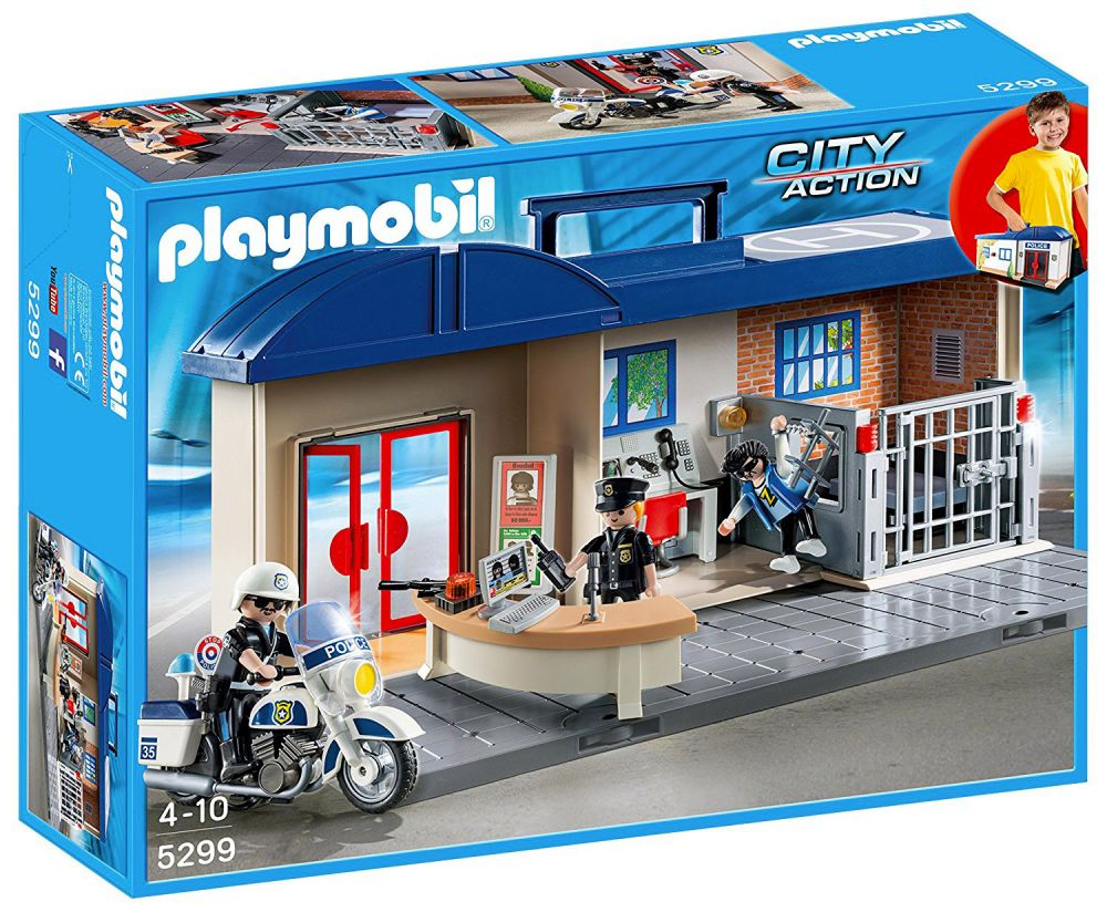 playmobil city action 5299 pas cher commissariat de police transportable. Black Bedroom Furniture Sets. Home Design Ideas