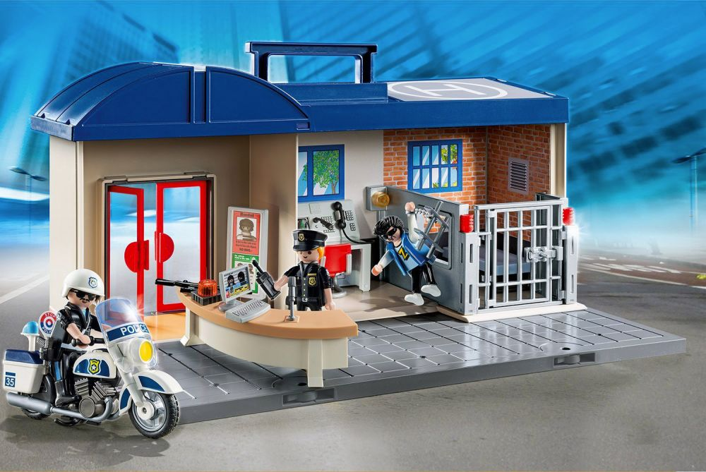 playmobil city action 5299 pas cher commissariat de. Black Bedroom Furniture Sets. Home Design Ideas