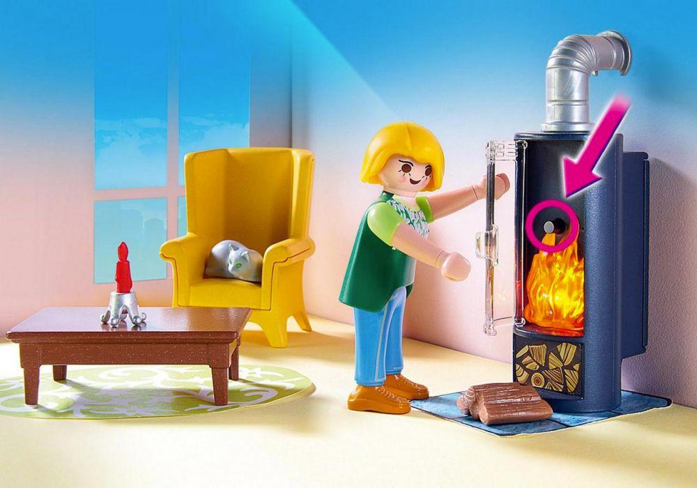 Playmobil dollhouse 5308 pas cher salon avec po le bois - Salon avec poele a bois ...