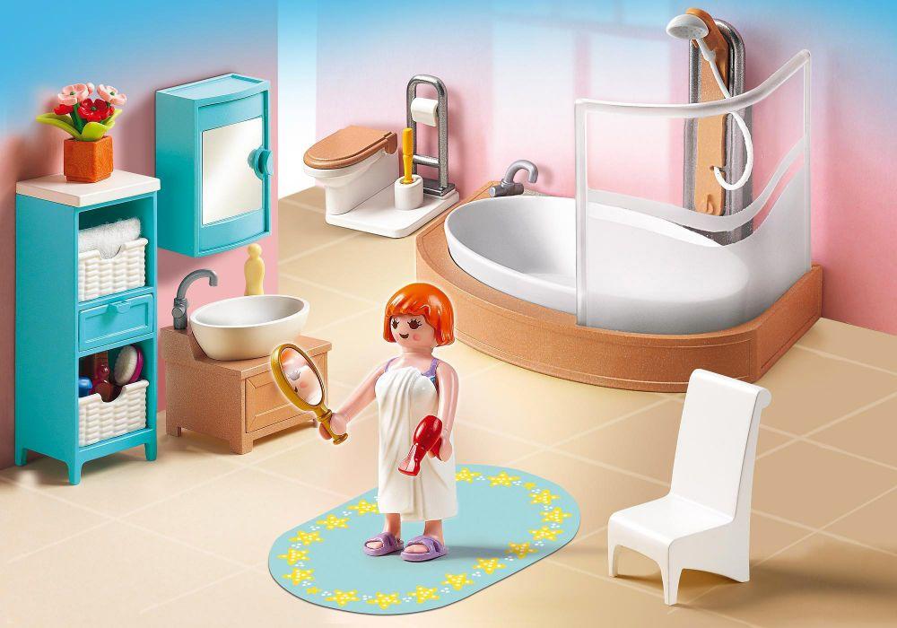 Playmobil dollhouse 5330 pas cher salle de bains avec for Salle de bain avec baignoire douche et wc