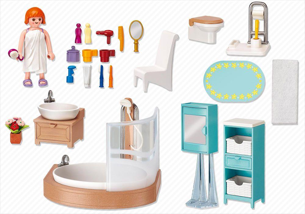 playmobil dollhouse 5330 pas cher salle de bains avec baignoire et pare douche. Black Bedroom Furniture Sets. Home Design Ideas