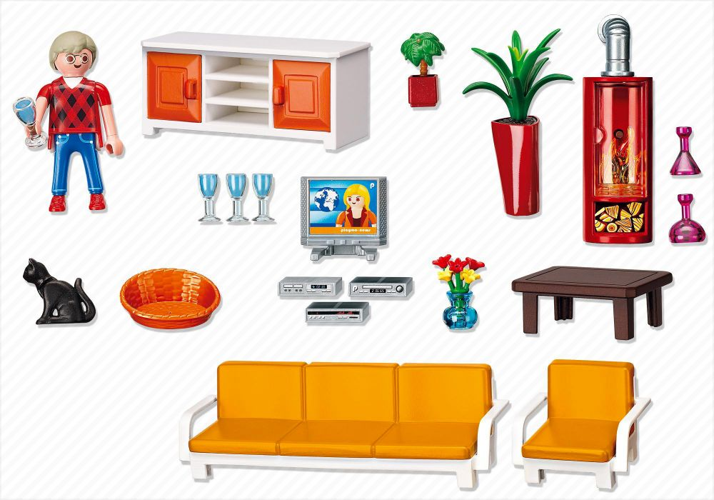 Playmobil dollhouse 5332 pas cher salon avec chemin e for Salon playmobil