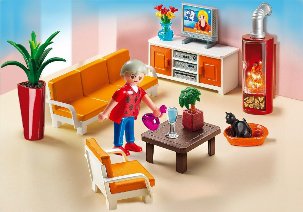 Playmobil dollhouse 5332 pas cher salon avec chemin e for Canape devant cheminee