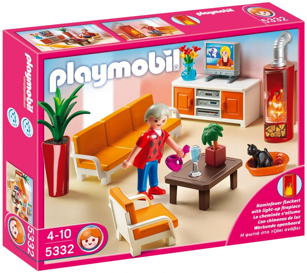 playmobil dollhouse 5332 pas cher salon avec chemin e. Black Bedroom Furniture Sets. Home Design Ideas