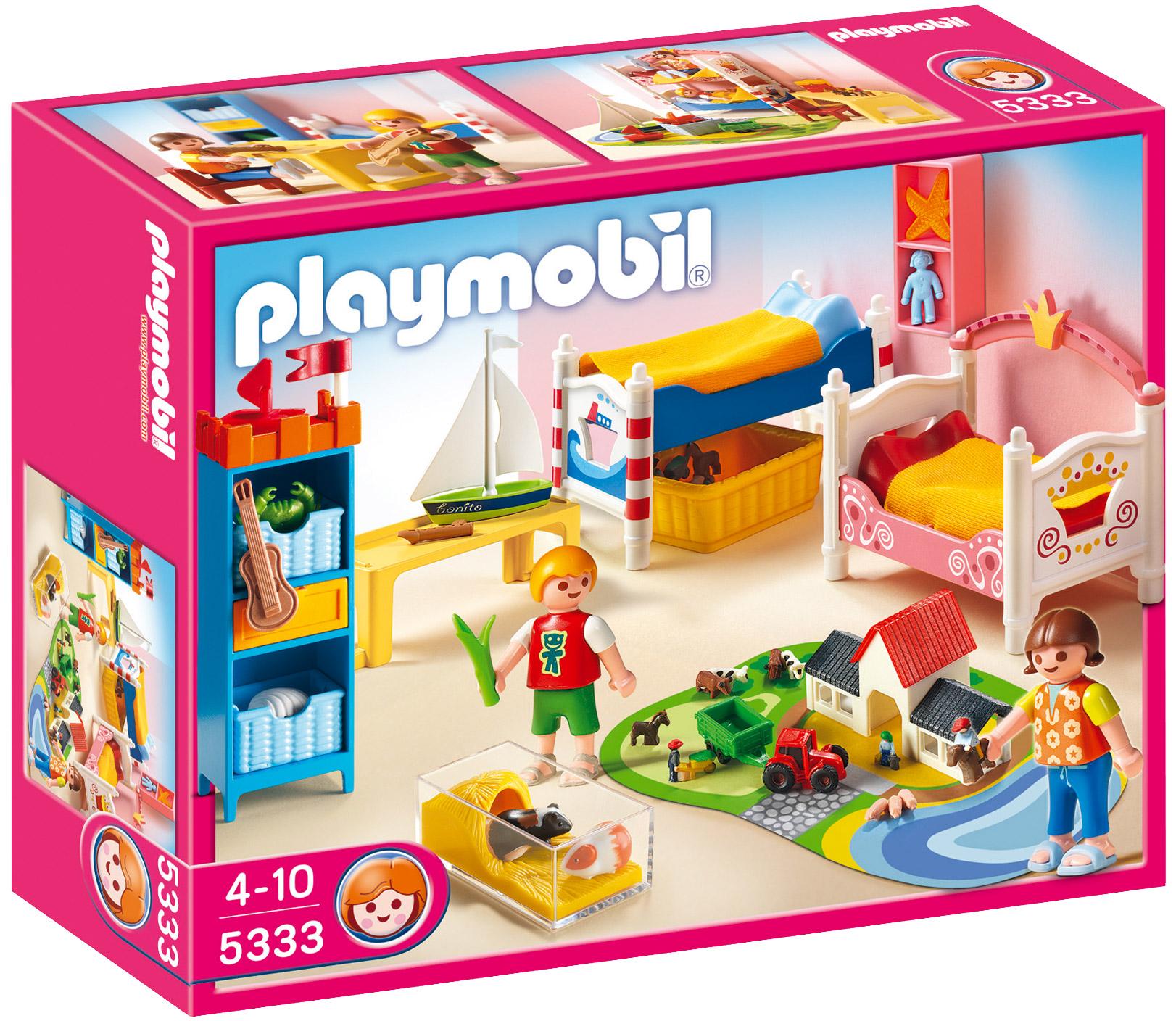 playmobil dollhouse 5333 pas cher chambre des enfants avec lits d cor s. Black Bedroom Furniture Sets. Home Design Ideas