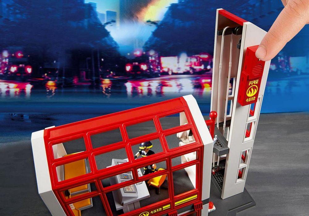 playmobil city action 5361 pas cher caserne de pompiers avec alarme. Black Bedroom Furniture Sets. Home Design Ideas