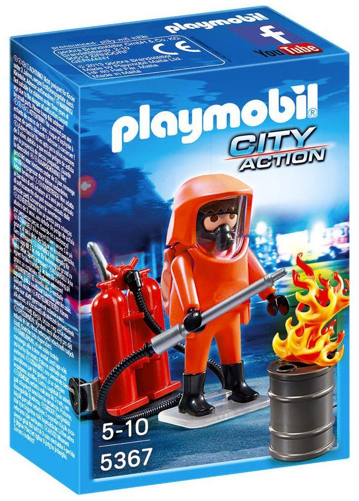 playmobil city action 5367 pompier avec combinaison de feu - Playmobil Pompier