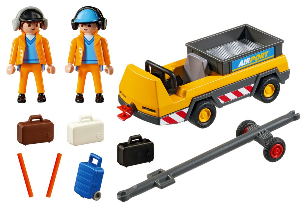 Playmobil 5396 City Action : Agents avec tracteur à bagages GEEw0JmK