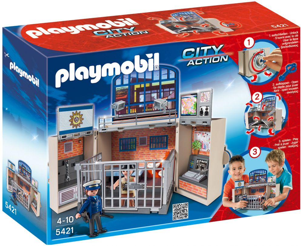 playmobil city action 5421 pas cher coffre poste de police. Black Bedroom Furniture Sets. Home Design Ideas
