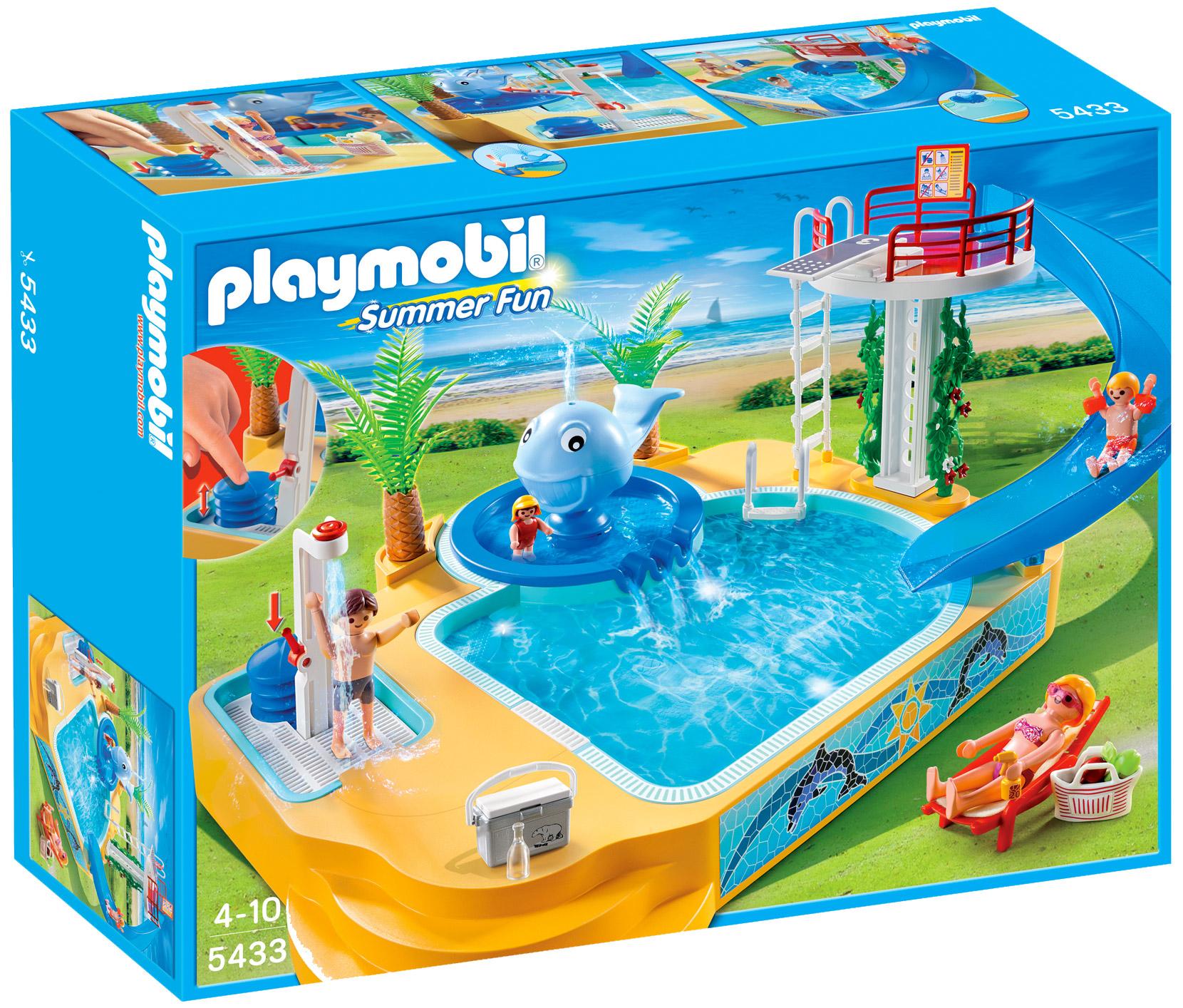 Playmobil summer fun 5433 pas cher famille avec piscine for Piscine plongeoir