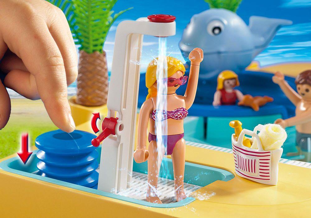 Playmobil summer fun 5433 pas cher famille avec piscine for Piscine avec terrasse playmobil