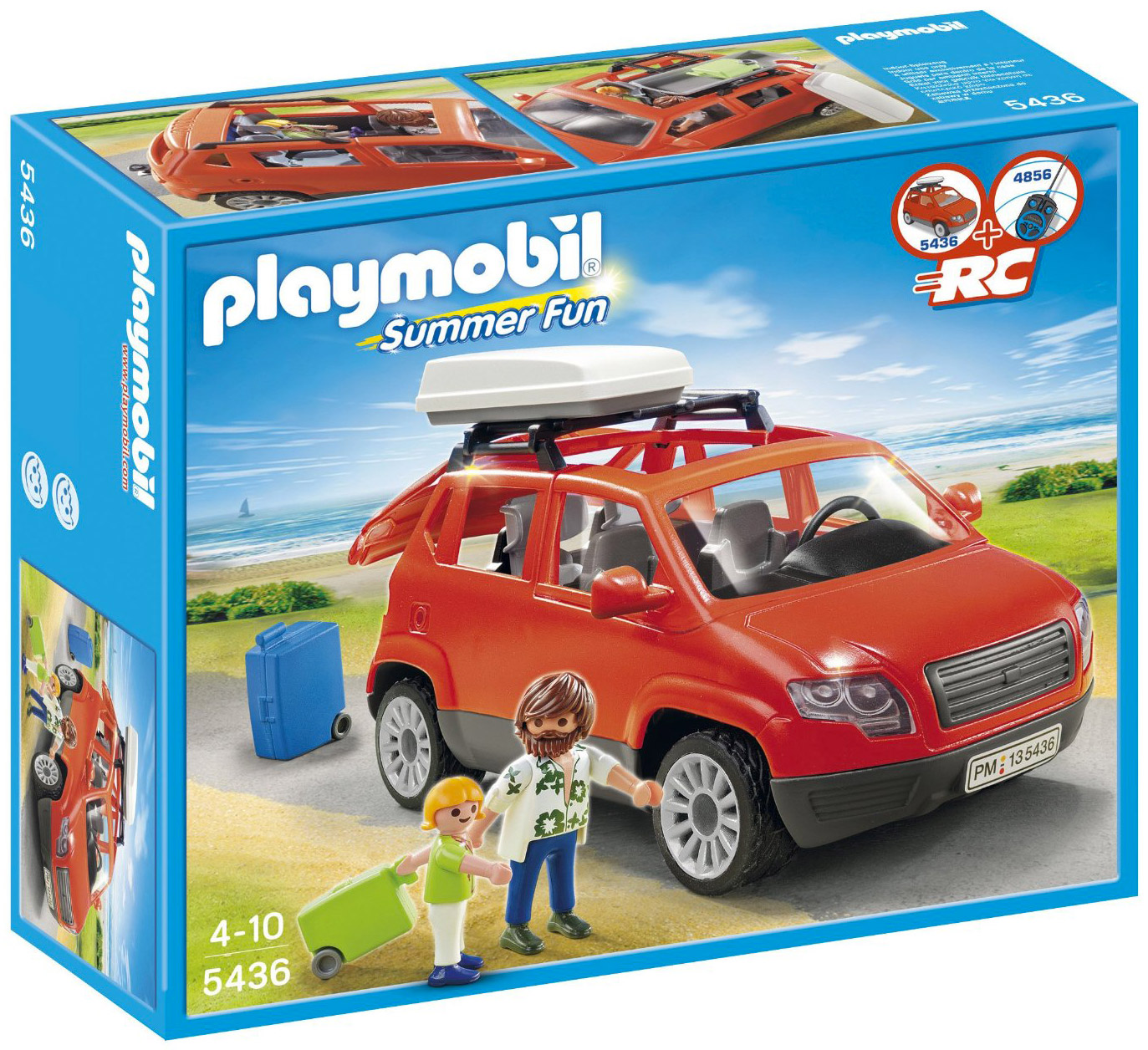 playmobil summer fun 5436 pas cher voiture avec coffre de toit. Black Bedroom Furniture Sets. Home Design Ideas