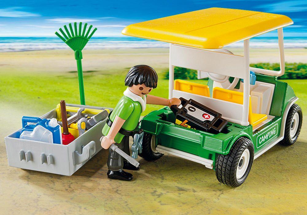 playmobil summer fun 5437 pas cher gardien du camping et v hicule de service. Black Bedroom Furniture Sets. Home Design Ideas