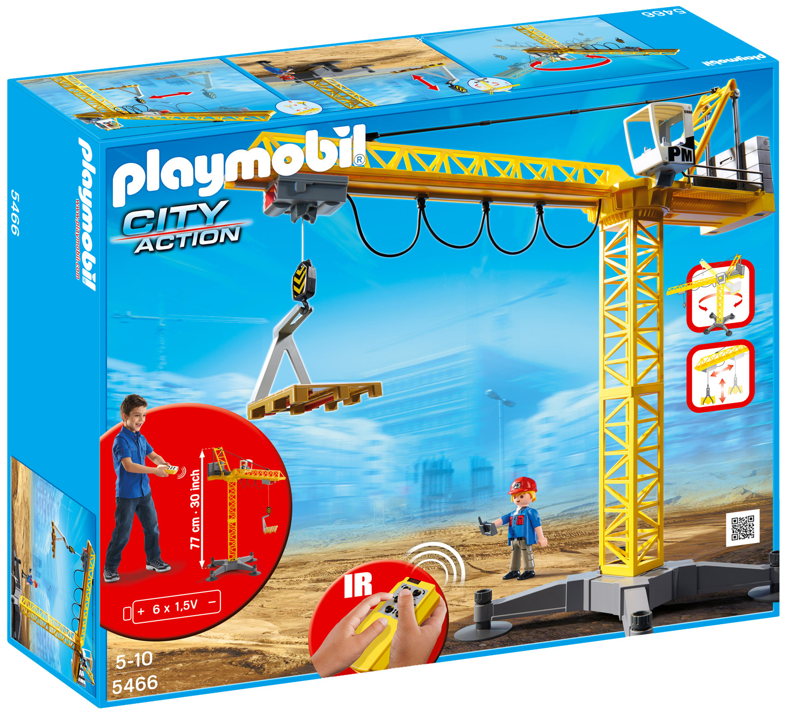 playmobil city action 5466 pas cher grande grue de. Black Bedroom Furniture Sets. Home Design Ideas