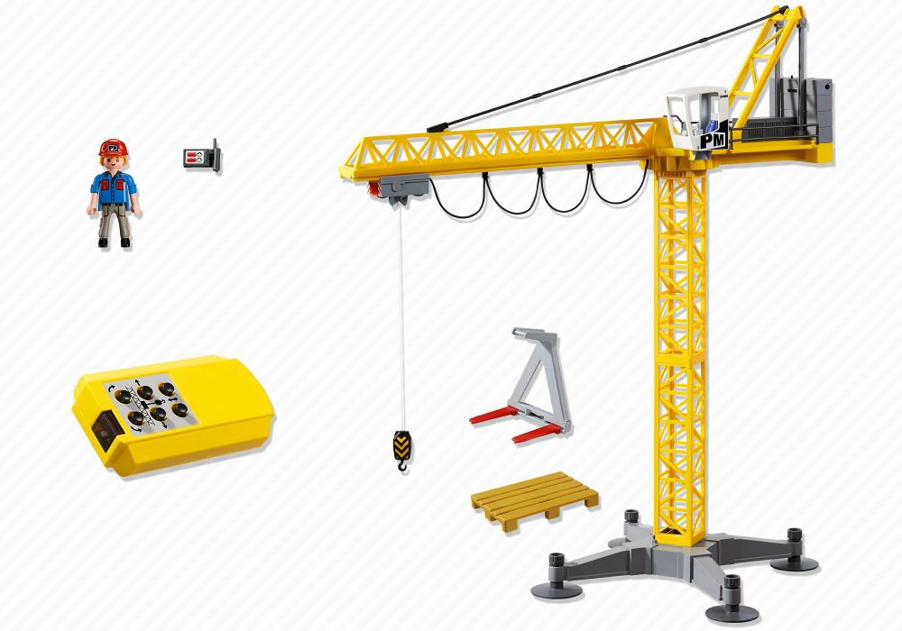 playmobil city action 5466 pas cher grande grue de chantier radio command e. Black Bedroom Furniture Sets. Home Design Ideas
