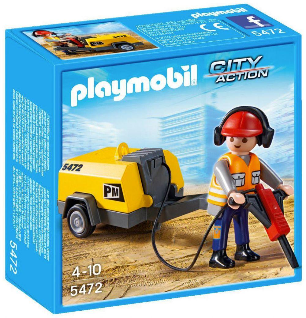 playmobil city action 5472 pas cher ouvrier avec marteau. Black Bedroom Furniture Sets. Home Design Ideas