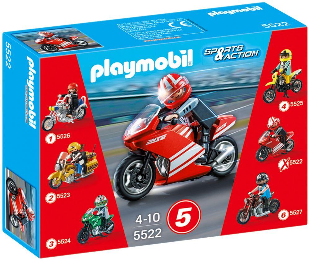 playmobil sports action 5522 pas cher moto de course rouge. Black Bedroom Furniture Sets. Home Design Ideas