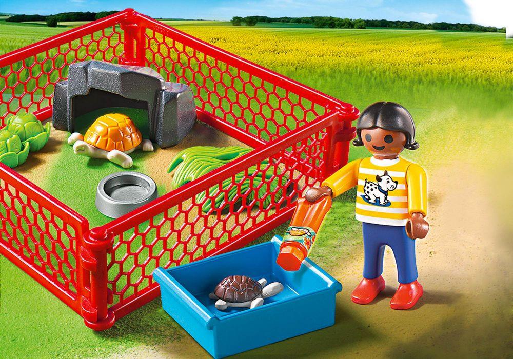 PLAYMOBIL City Life 5534 pas cher - Enfant avec enclos de tortues