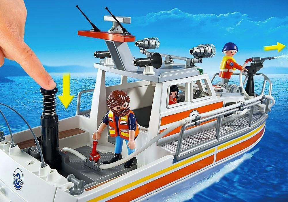 playmobil city action 5540 pas cher bateau de sauvetage avec pompe incendie. Black Bedroom Furniture Sets. Home Design Ideas