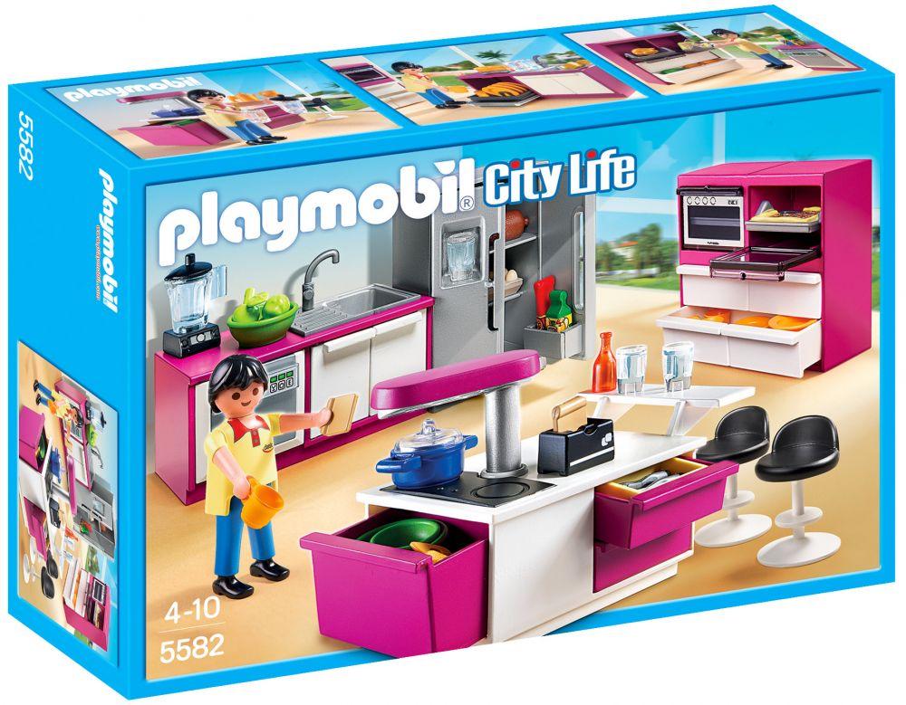 PLAYMOBIL City Life 5582 pas cher - Cuisine avec îlot