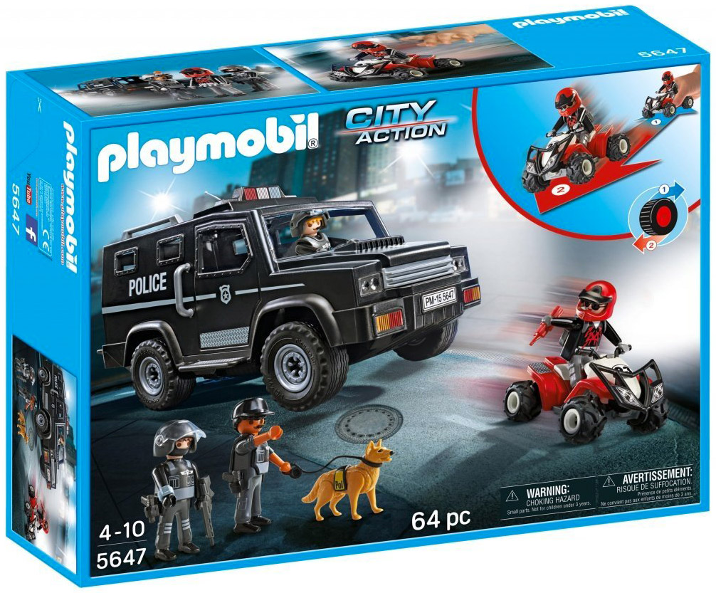 Playmobil city action 5647 pas cher forces sp ciales de police - Playmobil camion police ...