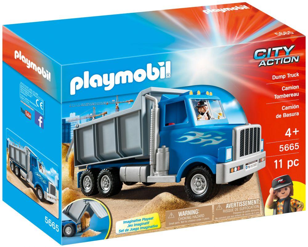 Playmobil city action 5665 pas cher camion de chantier am ricain camion tombereau - Playmobil camion ...