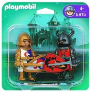 PLAYMOBIL Knights 5815 - Duo Chevalier Dragon rouge et Chevalier Licorne pas cher