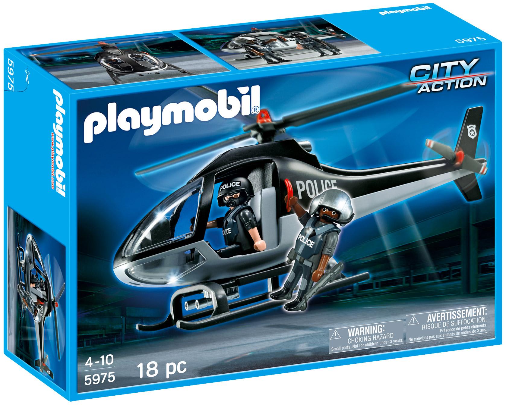 playmobil city action 5975 pas cher h licopt re de l 39 unit tactique de police. Black Bedroom Furniture Sets. Home Design Ideas