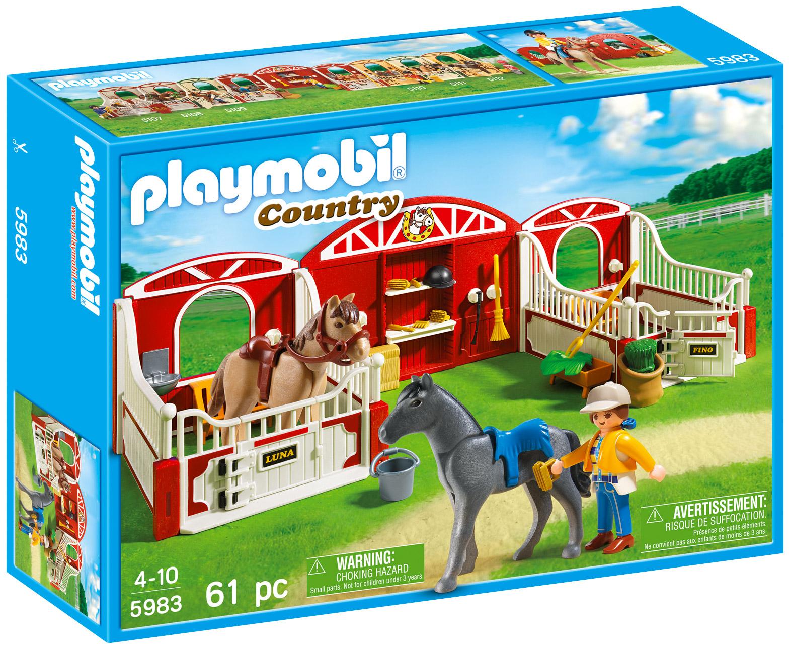playmobil country 5983 pas cher box chevaux avec chevaux et soigneur. Black Bedroom Furniture Sets. Home Design Ideas