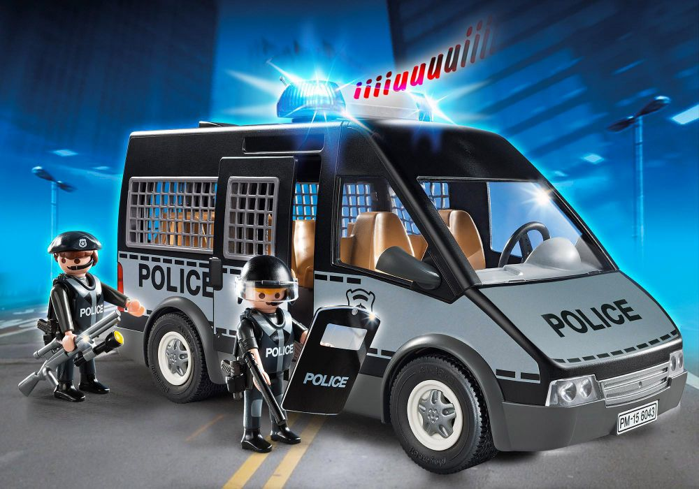 playmobil city action 6043 pas cher fourgon de police avec sir ne et gyrophare. Black Bedroom Furniture Sets. Home Design Ideas