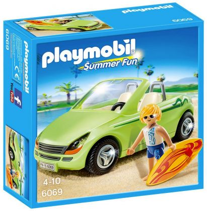 PLAYMOBIL Summer Fun 6069 Surfeur et voiture décapotable