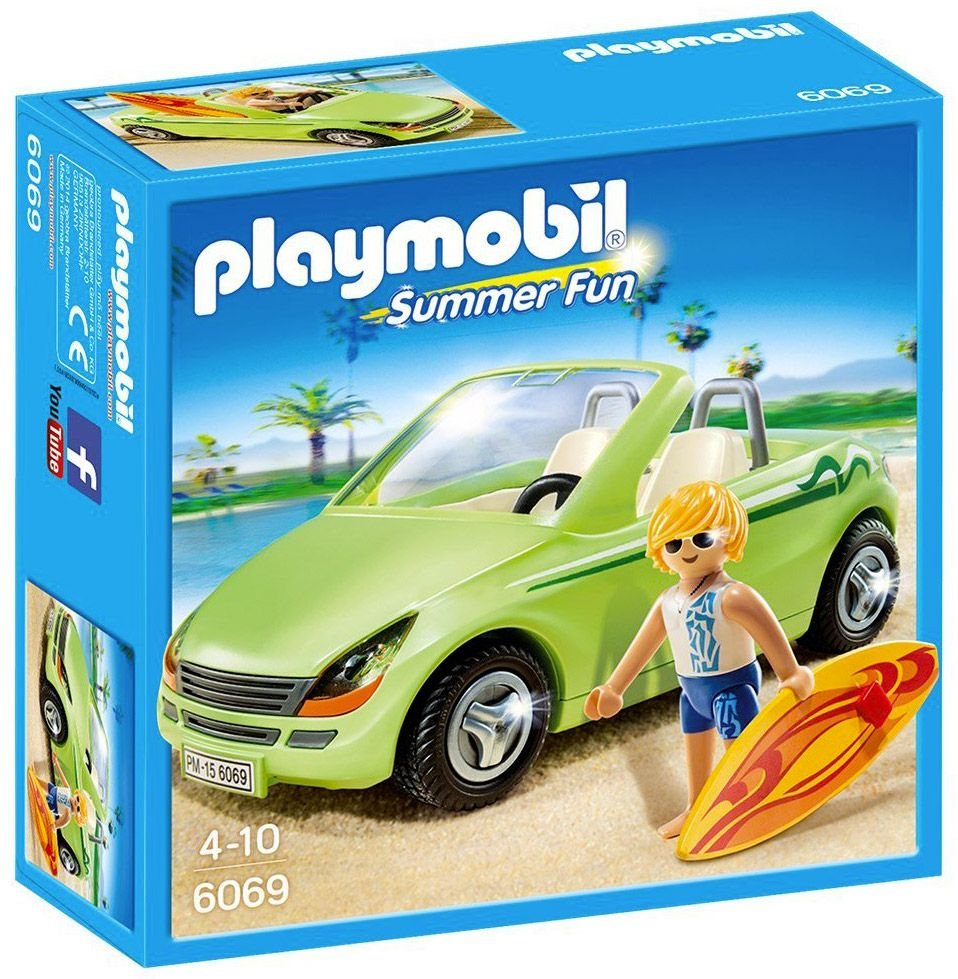 playmobil summer fun 6069 pas cher surfeur et voiture d capotable. Black Bedroom Furniture Sets. Home Design Ideas